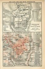 1897 JERUSALEM OLD and NEW CITY PLAN PALESTINE ISRAEL Antique Map