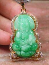 1 Piece Yellow Gold Plate Green JADE Pendant Guanyin Kwan yin Necklace 100135