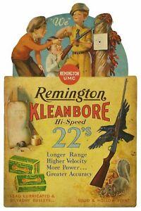 REMINGTON GUN KLEANBORE HI-SPEED 22's HEAVY DUTY USA MADE METAL ADVERTISING SIGN