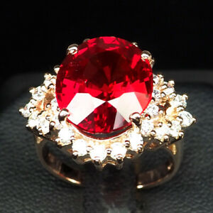 SAPPHIRE PINK PADPARADSCHA 10.90 CT. 925 STERLING SILVER ROSE GOLD RING SZ 6.5