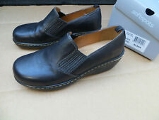 Softspots Madrid Womens Shoes Slip On Black Leather Size 8 1/2W 8.5 Wide NICE