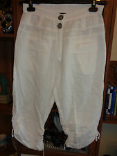BOHEME WHITE LINEN BLEND HAREM CROPPED RELAXED TROUSERS-SIZE S