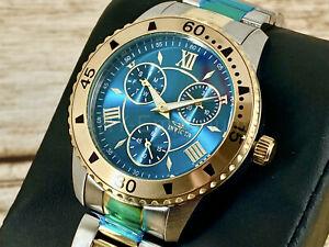NEW Invicta 30735 Angel Lady 38mm Blue Dial 18k Gold Bezel 2-Tone Bracelet Watch