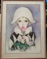 Vintage Rare Mira Fujita Tearful Women Holding Rose 28.5 x 21.5 Pink Metal Frame