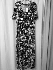 Black and white dotty maxi dress jersey fabric size size 12