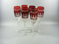 AJKA KING LOUIS RUBY RED CASED CUT TO CLEAR CRYSTAL CHAMPAGNE FLUTES SET OF 6 !