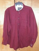 WOOLRICH Mens Large Wool Blend Shirt Houndstooth Plaid Button Front 4759 Red Lg