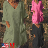 Plus Size S-5XL Womens Oversize Shirt Cotton Linen Loose V Neck Baggy Tunic Tops