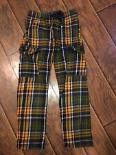 Euc Mini Boden Boys Flannel Plaid Tartan Cargo Pants ~ 9 Yrs
