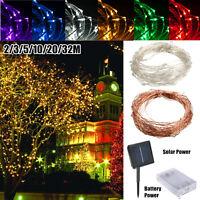 2-32M LED String Copper Wire Fairy Light Solar/Batería Festival Luz Impermeable