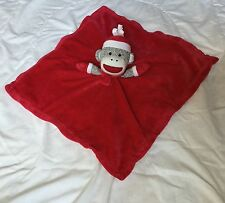 """Baby Starters Sock Monkey Red Lovey 17"""" Square White Silky Back Hat Mittens"""