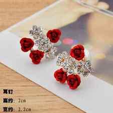 1 Pair Fashion Women Lady Elegant Crystal Rhinestone Flower Ear Stud Earrings