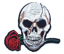 Skull & Patch Rose Biker Pirate Embroidered Sew Iron On  Heavy Metal halloween