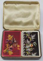 Vintage BRIDGE Double Deck Playing Cards & Leather Like Case Arrco Flowers Clock