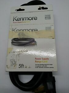 Kenmore 4 Prong Power Supply Range Cord, 5 ft, Black, For Free Standing Ranges