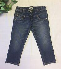 Tommy Hilfiger Womens Jeans Size 11 Stretch Dark Wash Denim Capri Whisker Front