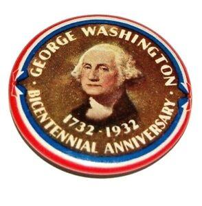 1932 GEORGE WASHINGTON BICENTENNIAL pinback pin button campaign presidential