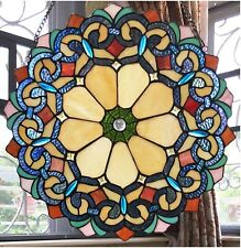 """18"""" x 18"""" Victorian Blossom Tiffany Style Stained Glass Window Panel"""