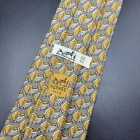 Vintage Hermes Paris Made In France Gray Saddle Bag Pattern Silk Tie 642 TA