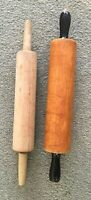 Vintage Antique Wood Rolling Pin w/ Black Handles plus one wooden rolling pin