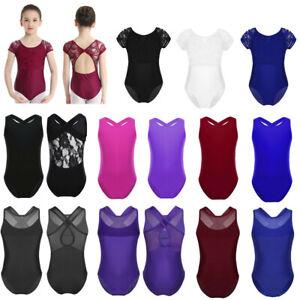 US Girls Gymnastics Ballet Leotard Kids Dance Mesh Bodysuit Jumpsuit Dancewear