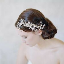 Elegante nupcial boda oro plateado Rhinestone Flores Peine de Cabello Fascinator de la Perla