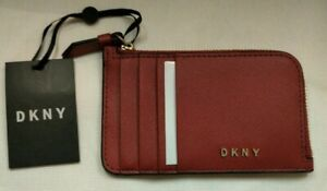 £59 DKNY BRYANT RED  LEATHER  ZIP CARD HOLDER - Wallet - brand new
