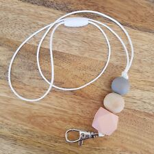 Handmade Lanyard - Lightweight wooden beads PEACH & GREY