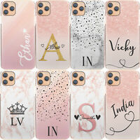 Pink Initial Phone Case, Personalised Pink/Grey Marble Hard Cover For Samsung A