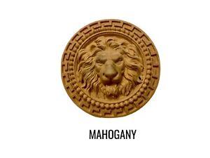 Solid Hardwood Lion Head in Round Greek Key Border