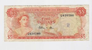 Bahamas - Five (5) Dollars, 1974