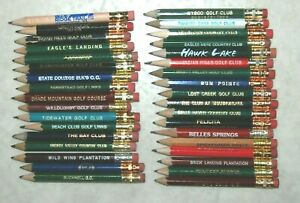 Vintage Lot of 35 Golf Course Score Card Pencils *All with erasers*