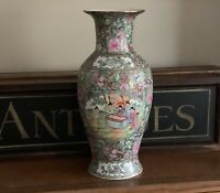 Beautiful Large Antique Cantonese Famille Rose Design Vase