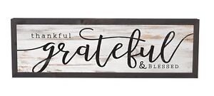 Thankful Grateful Blessed Grey White 25 x 8 Inch Pine Wood Frame Wall Plaque