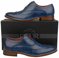 Mens New Blue Lace Up Leather Lined Formal Brogue Shoes Size 6 7 8 9 10 11 12