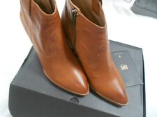 Frye Women's Reina Ankle Leather Boots Booties Short COGNAC - Size US 8 M #