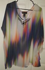 PLUS SIZE WOMENS 28W 3X MULTICOLOR SHEER TOP W/BEADED DETAIL *NWT* FREE SHIP USA
