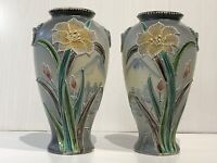 Antique Japanese Taisho Period Satsuma Moriage Pair Of Vases