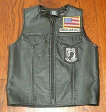Sons of Anarchy Kids Leather Biker POW MIA Vest Boys Youth Size 8