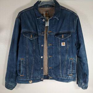Men's Carhartt Sherpa Lined Fleece  Denim Jacket Blue Jean Dark Wash Trucker L