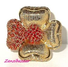 SONIA BITTON 14K YELLOW GOLD RED ORANGE SAPPHIRE & DIAMOND FLOWER RING
