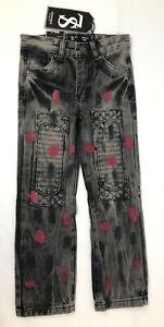 Seven Souls New York Boys Black Size 6 Slim Fit Straight Boot Jeans