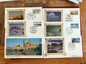 AAT AUSTRALIAN ANTARCTIC 1984 FDC x 5 BENHAM SCENES I HUSKY DOGS SLED LTD ED 02