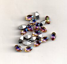 10 STRASS  OVALES 4100 TAILLE OVALE 4X6 AURORE BOREAL 10 PIECES