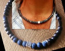 Mens stone beaded custom NECKLACE black Hematite Frosted Agate.Men gift