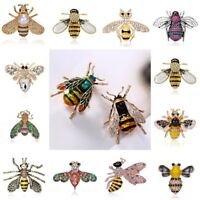 Vintage Enamel Bumble Bee Crystal Brooch Pin Costume Badge Womens Mens Jewellery