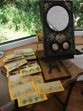 ANTIQUE FRENCH 19TH CENTURY STEREO VIEWER/GRAPHOSCOPE & 18 STEREO VIEWS