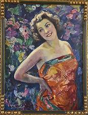 Painting Art Deco lady in garden with flowers Hubert Glansdorff, 1920 Belgium