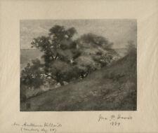 1889 Wood Engraving An Autumn Hillside by John Parker Davis, Signed Japan Paper