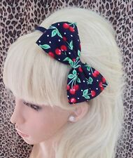 """NEW NAVY RED CHERRY CHERRIES RETRO PRINT COTTON 5"""" SIDE BOW ALICE HAIR HEAD BAND"""